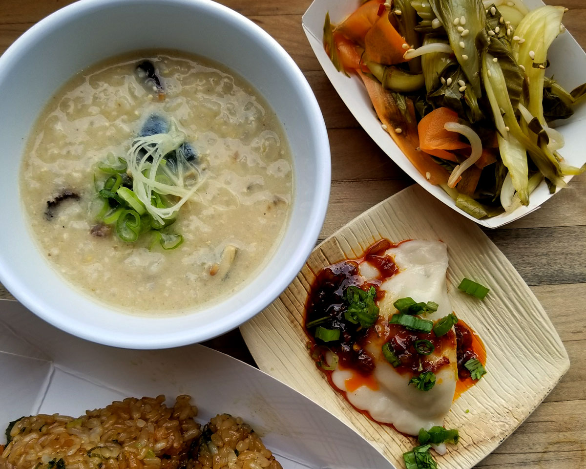 Breakfast congee; zongzi; dumpling; pickled vegetables