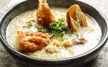 Duck congee with Chinese doughnuts