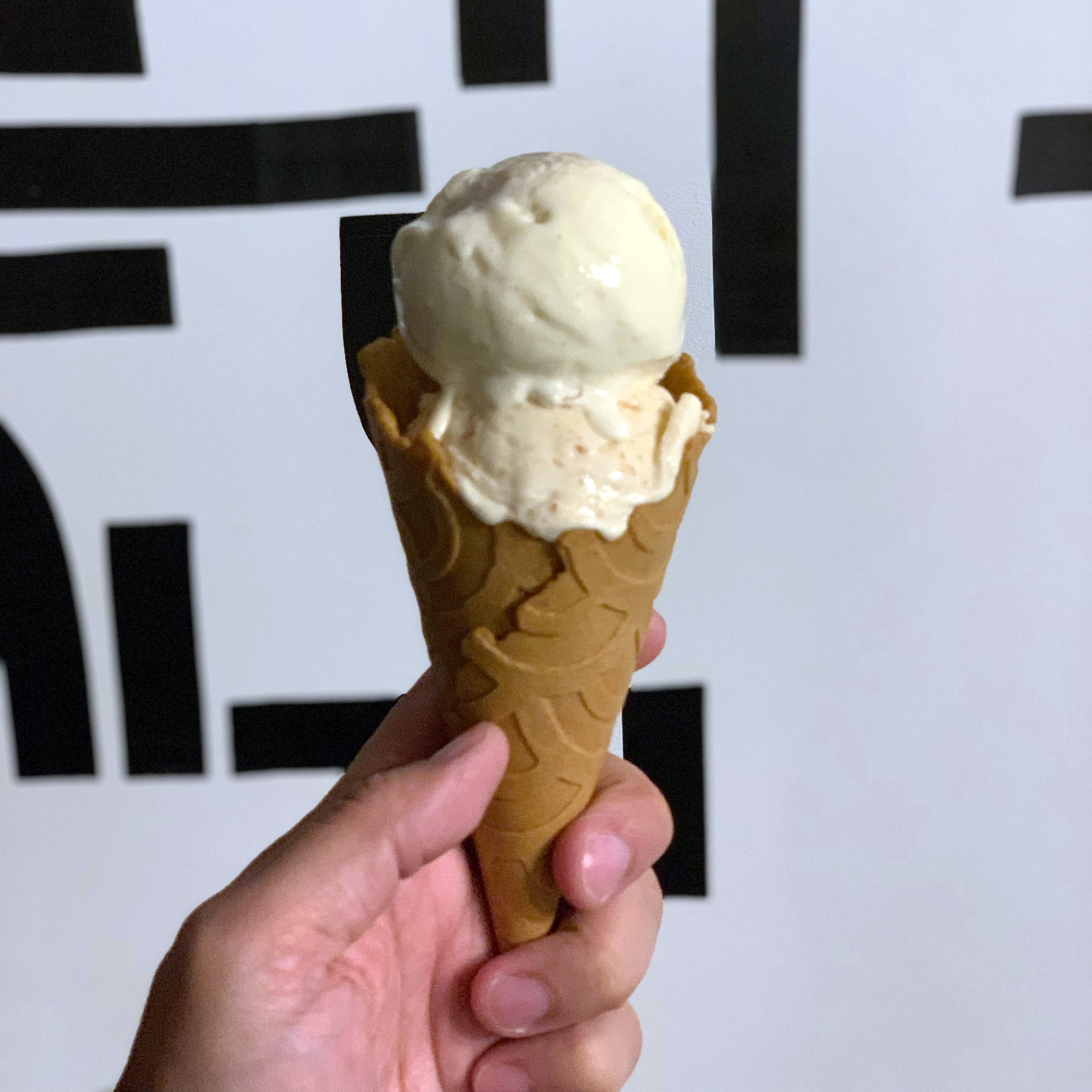 Custom Ice and Vice scoops: almond cookie butter and egg custard