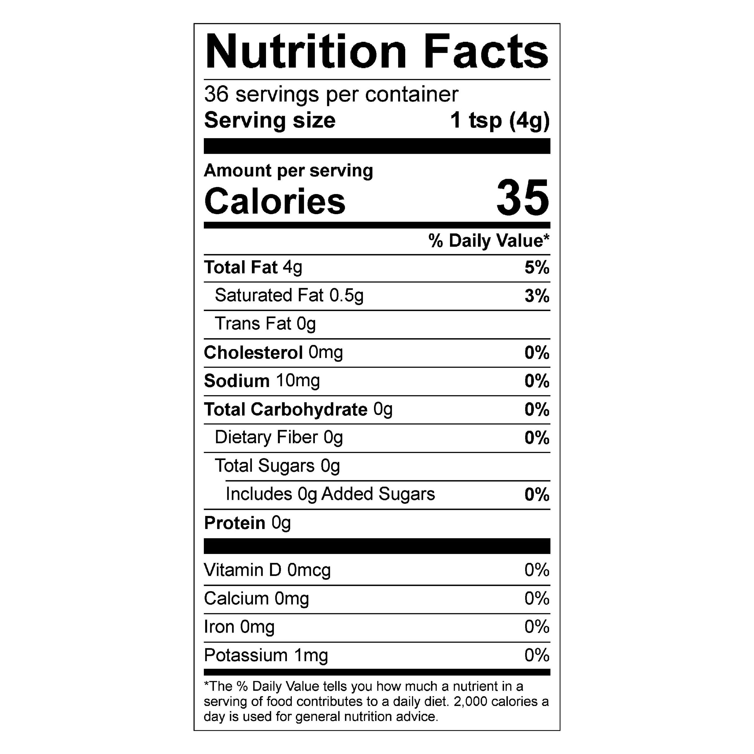Nutrition facts for chili oil (6oz bottle)
